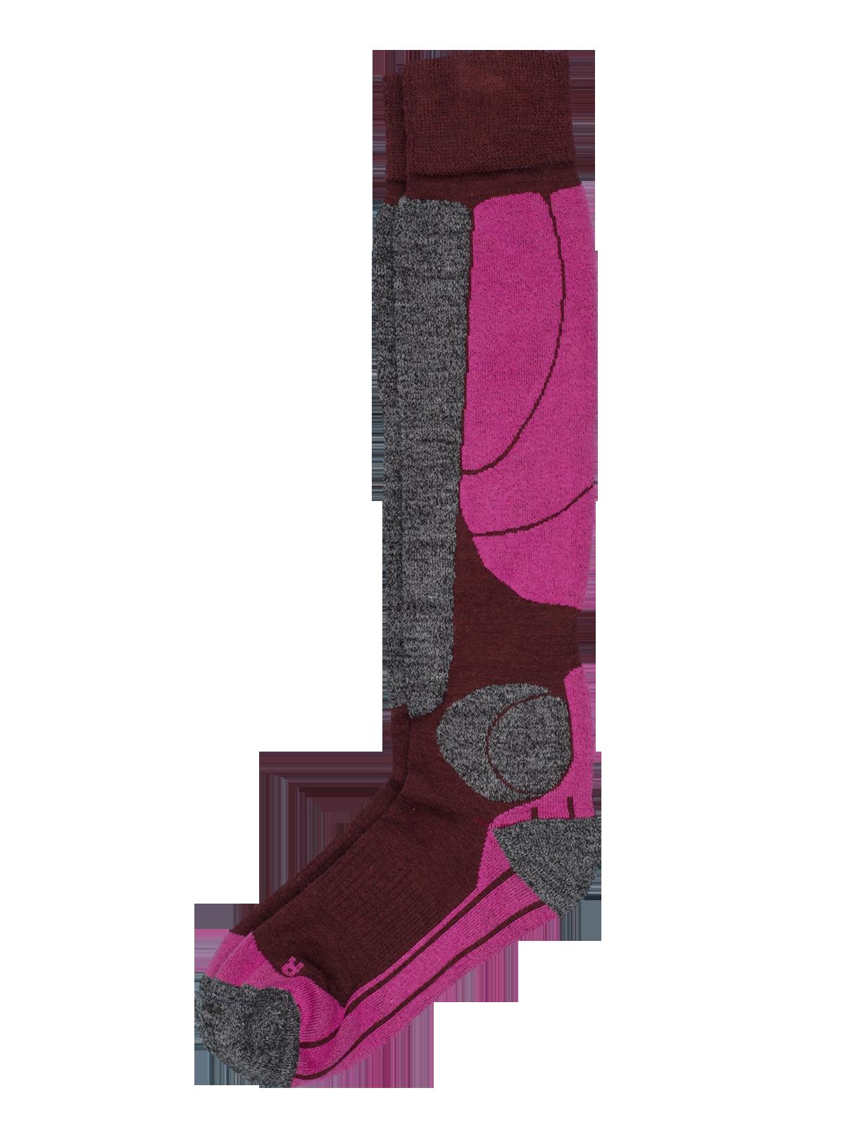 Wool Ski Sock Vinröd