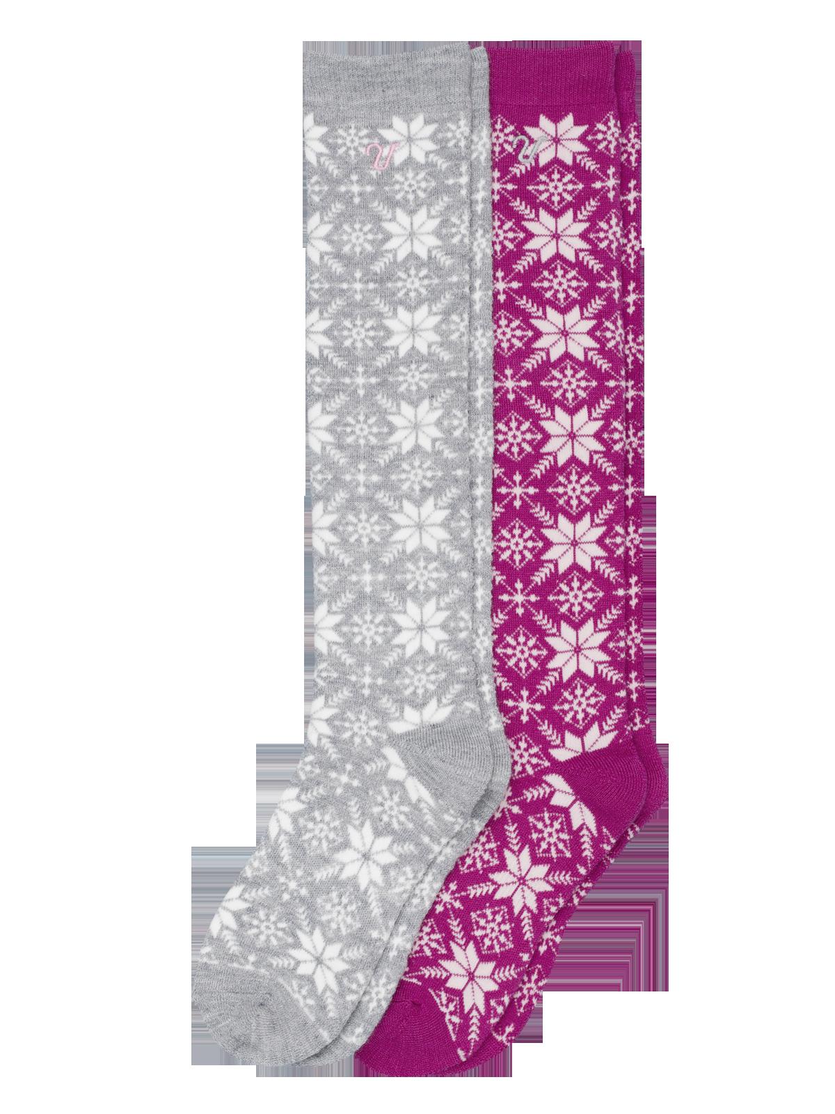 Wool Sock High 2-p Rosa/Grå