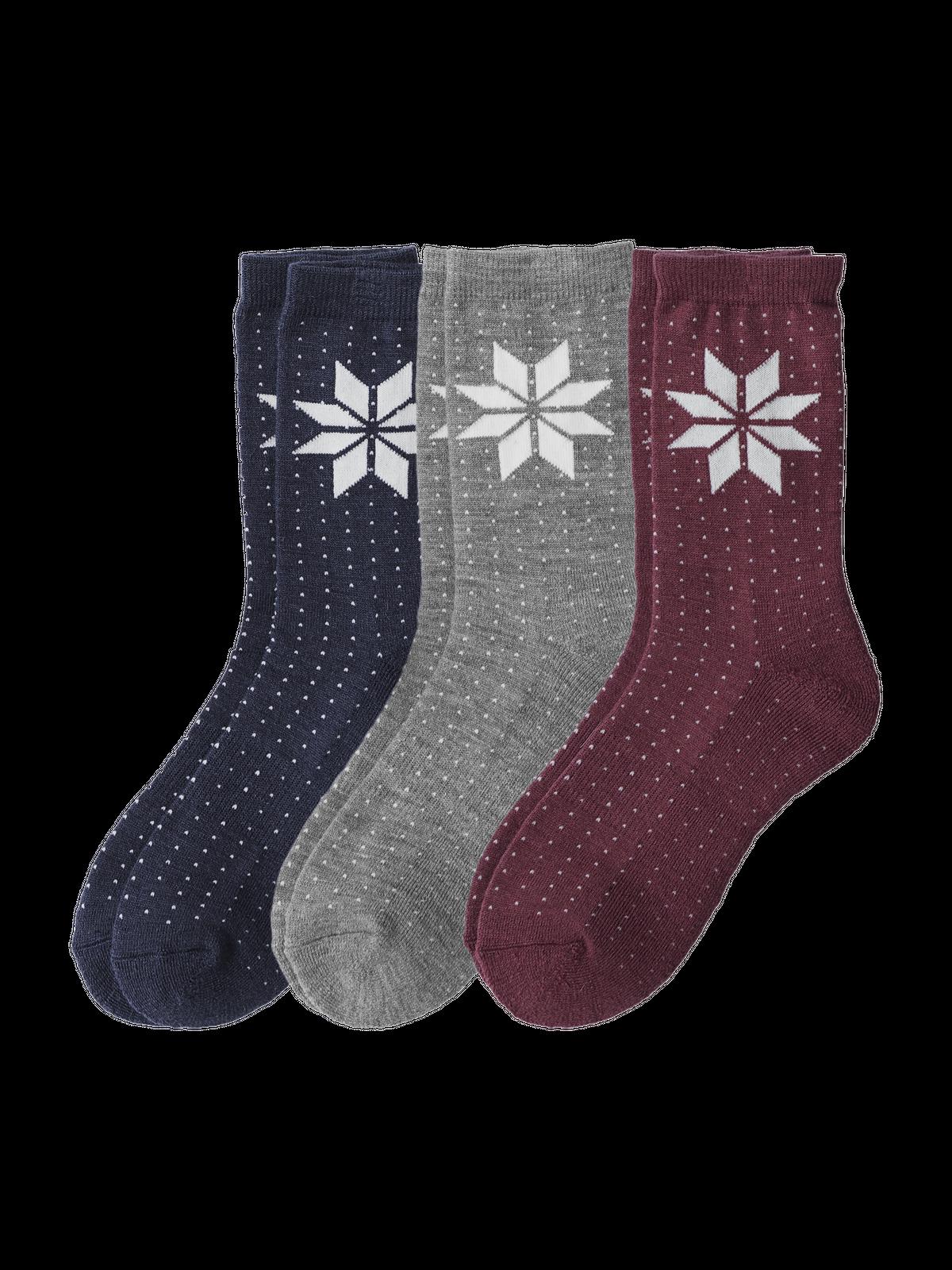 Wool Mix Sock 3-p Blå/Grå/Rosa