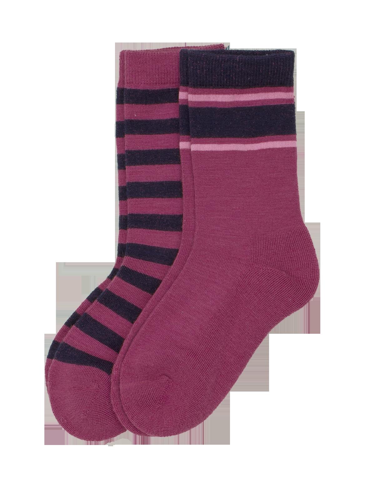 Wool Sock Kids 2-p Rosa/Blå
