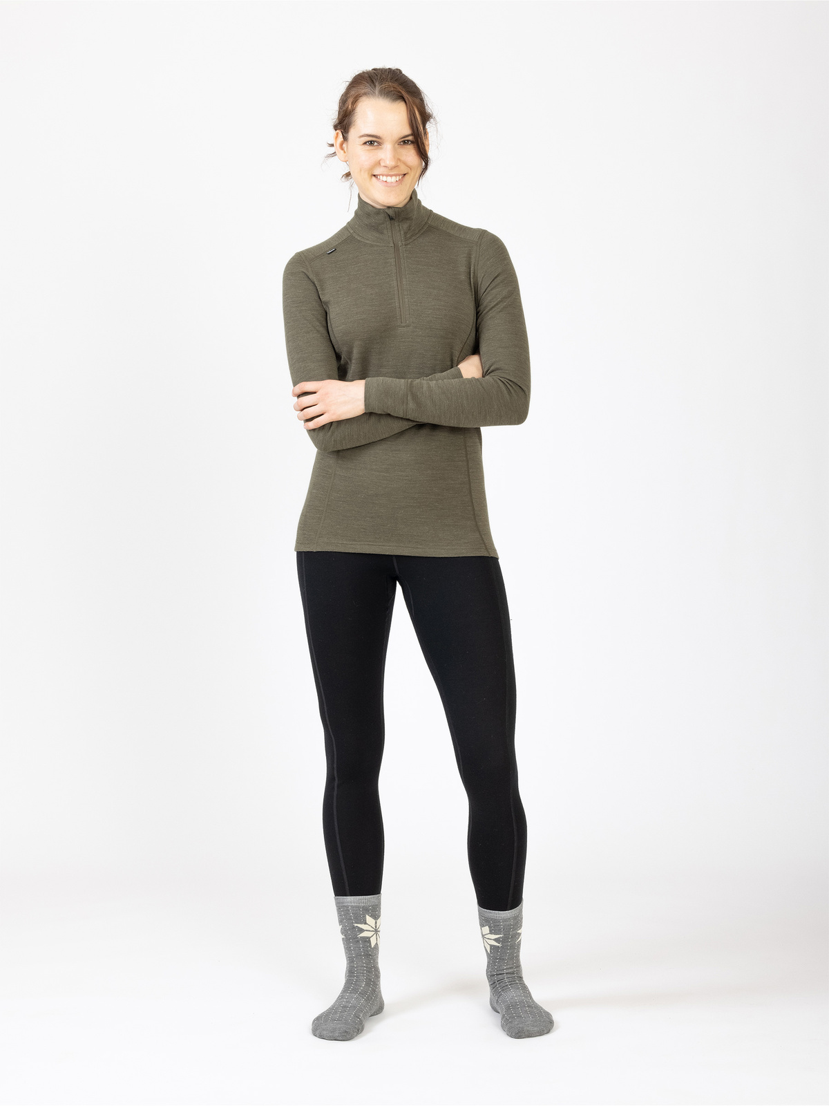 Merino Super Soft ½ Zip Women Khakigrön