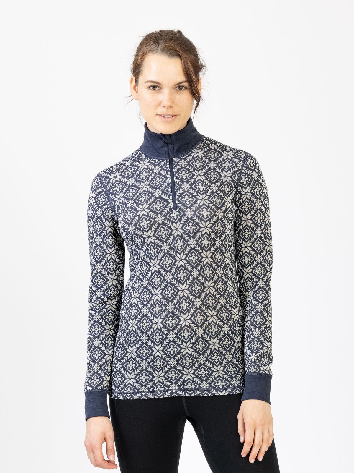 Wool Star Zip Women Blå