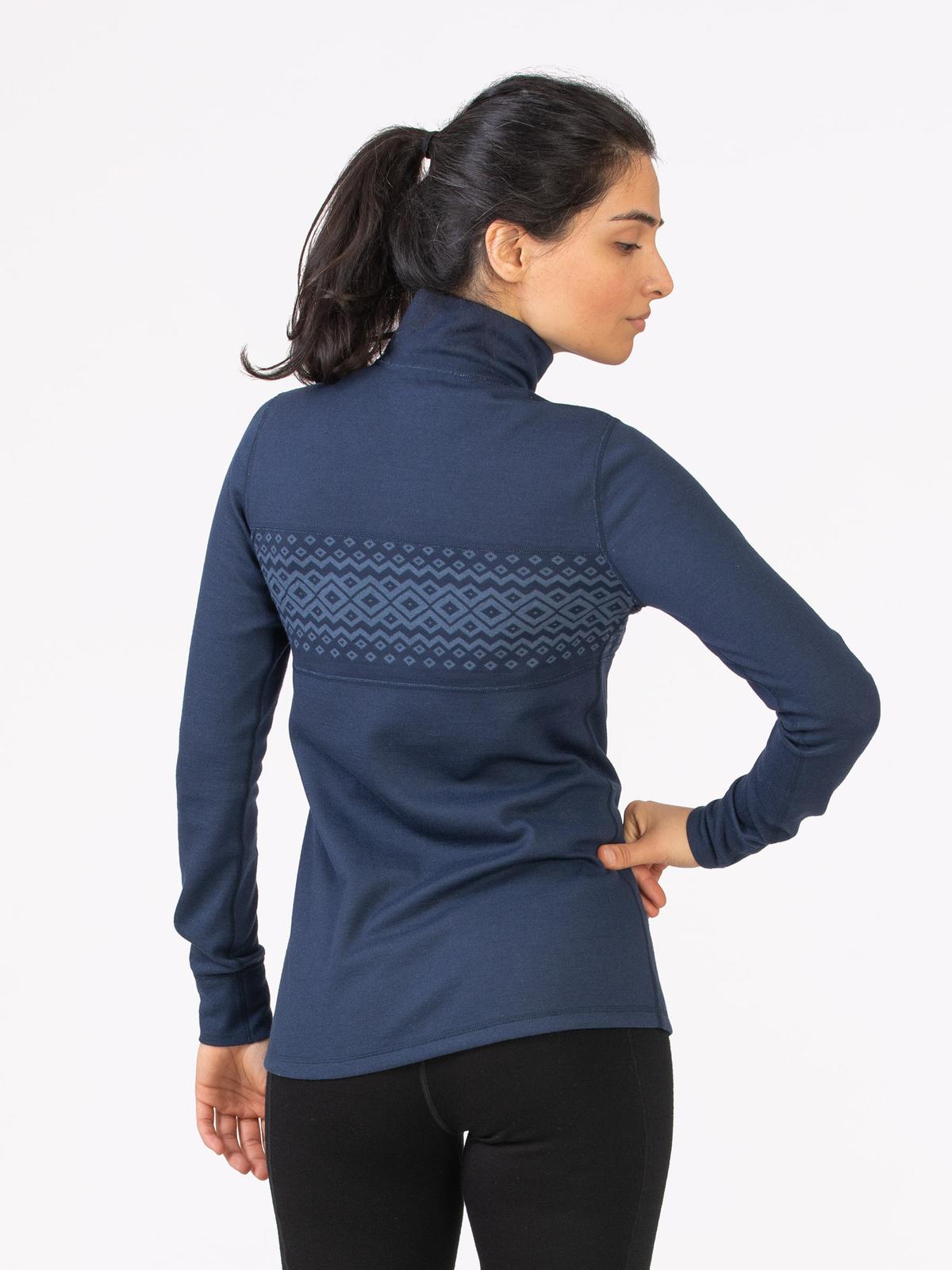 Merino Wool ½ Zip Women Blå