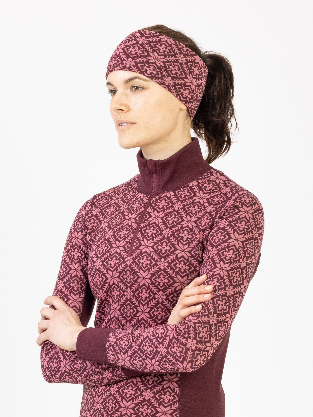 Wool Star Headband Vinröd