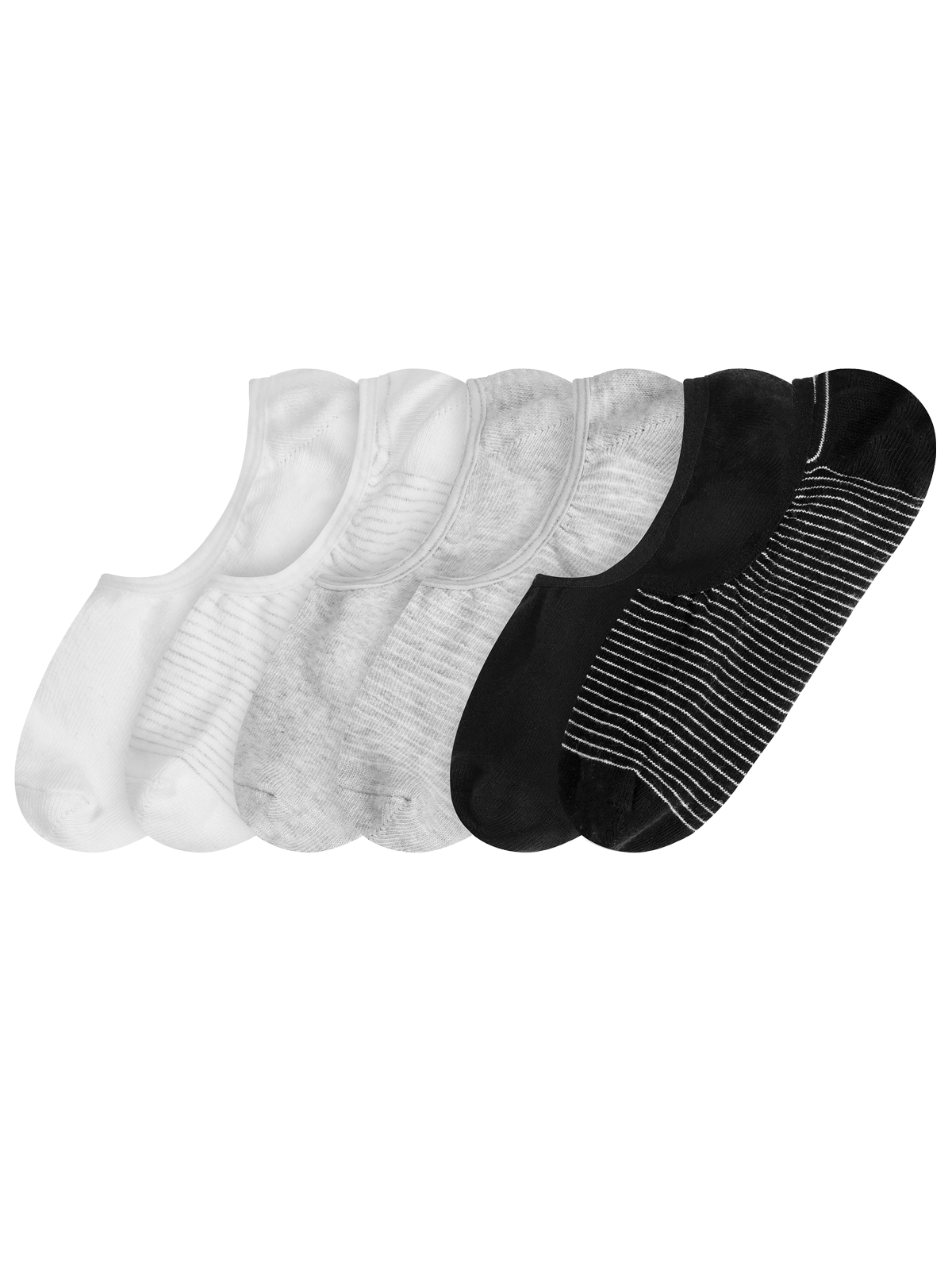 Invisible Socks 6-p Svart/Grå/Vit